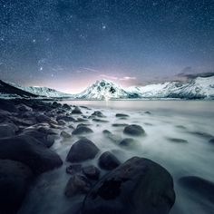 Beautiful cold night in Senja, Norway. http://www.mikkolagerstedt.com/learn