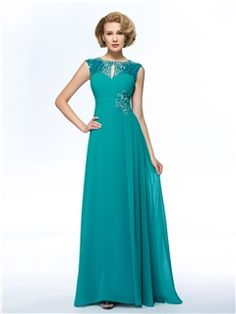 Elegant Jewel Sequins Ruched Beading A-Line Mother of the Bride Dress