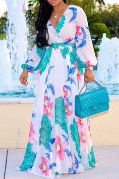 White Flowers Draped V-neck Bohemian Beach Chiffon Maxi Dress African Maxi Dresses, Latest African Fashion Dresses, White Maxi Dresses, Casual Dresses, Summer Dresses, Party Dresses, Mini Dresses, Dresses Dresses, Floral Dresses