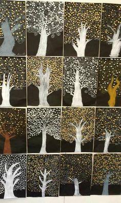 Metallic Klimt trees - winter trees for seasons unit Classroom Art Projects, School Art Projects, Art Classroom, Art School, Classe D'art, Winter Art Projects, 4th Grade Art, Ecole Art, Art Lessons Elementary
