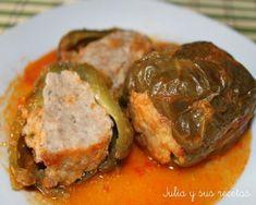 pimientos rellenos de carne en salsa española