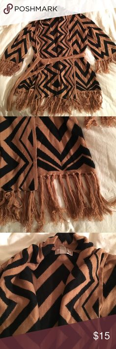 "Chevron Fringe Open Front Cardigan Fun tan and black sweater, super soft! Belted with fringe bottom and sleeves. ""Love21"" by Forever 21. Forever 21 Sweaters Cardigans"