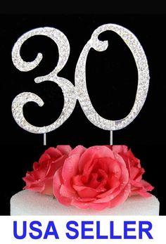 "Large Rhinestone Crystal ""30Th"" Birthday/Wedding Anniversary Number Cake Topper"