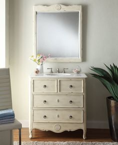 This Nallely Single Bathroom Vanity Set with Mirror boasts all the elements you'd look for in a piece of bathroom furniture built to last: durable construction, elegant design details and plenty… Vintage Bathroom Vanities, Boho Bathroom, Single Bathroom Vanity, Modern Bathroom, Small Bathroom, Bathroom Ideas, Shower Ideas, Single Vanities, Cream Bathroom