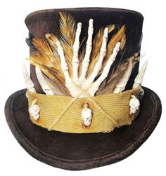 Voodoo Witch Doctor Tall Brown Top Hat Skull by JenkittysCloset