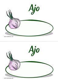 Cartel para el precio del ajo Canela, Eggplants, Cherries, Garlic, Fruits And Vegetables, Labels For Jars, Butler Pantry, Printable