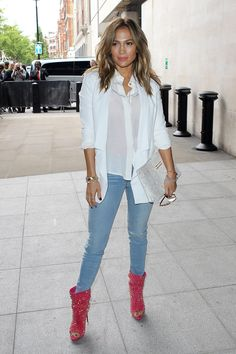.relaxed look, with a bit of pow as far as the peep toe studded bootie, and since it's JLo in the pic, I'll reference that by bootie, I mean her boots, lol!!