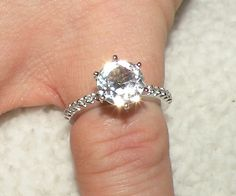 14kt Engagement Ring with White Sapphires di Candiesthings su Etsy
