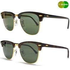 7d3ce8f2598 NEW RAY BAN CLUBMASTER RB3016 BLACK OR TORTOISE BROWN 51MM GREEN LENS  SUNGLASSES