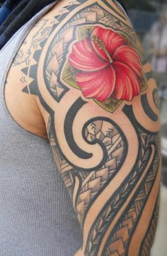 Hawaiian tribal tattoo - The state flower of Hawaii, hibiscus is a popular ornamental flower for girls in Hawaii. The intricate weaving pattern centered with vibrant hibiscus flower, presenting a strong visual statement off culture identity.