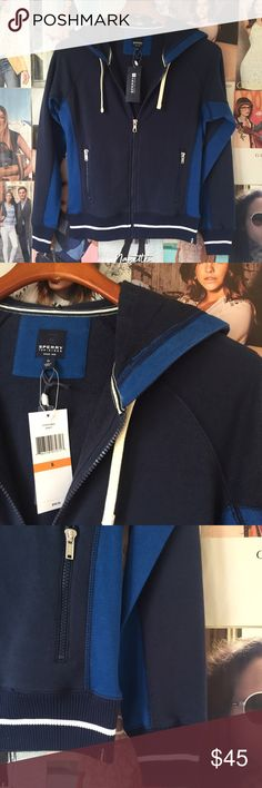Treat Yo-self Thursday! hoodie WAS $40 FIRM$$ Classic cool zip sweater jacket from Sperry Top-Sider in navy, blue and white. Mmm...s'mores on cool nights! Or football games with friends!! Two zip front pockets, stretchy hem and cuffs, ties on the hood. NWT. Sperry Top-Sider Jackets & Coats