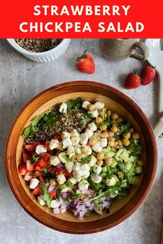 Get your daily dose of fruits and veggies in this wholesome, colorful salad! Recipe by Gal Shua-Haim. #californiastrawberries #chickpeasalad #saladrecipes #strawberrysalad #summersalad #saladideas #healthyrecipes Healthy Strawberry Recipes, English Cucumber, Canned Chickpeas, Chickpea Salad, Fresh Mozzarella, Summer Salads, Fruits And Veggies, Food Print, Salad Recipes