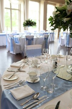 Sky blue table runner and sashes Stubton Hall www.modernheritagestyling.co.uk