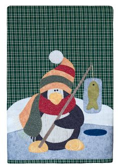P31 Polar Penguin Patternlet by The Wooden Bear- fusible applique tea towel design using micro mini black buttons for eyes and pearl cotton thread for stitching fishing line and scarf ends.