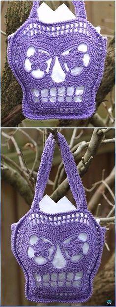 Crochet Trick or Treat Bags Free Pattern -Crochet Skull Ideas Free Patterns