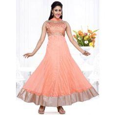 Picturesque Peach Readymade Anarkali Suit