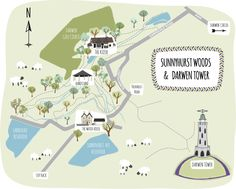 Illustrated Map of Sunnyhurst Woods, Lancashire & surrounding area - Bek Cruddace