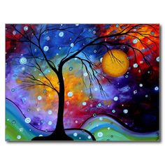 Colorful and whimsical artwork - Winter Sparkle Circle of Life MADART Painting Postcard