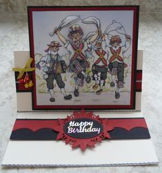 Easel card with decoupaged Morris Men