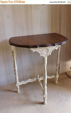 Antique Demilune Half Round Table Side Table By SpendThriftThrive Half  Round Table, Shabby Chic Side