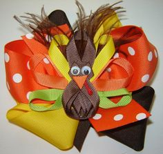 Girl's Thanksgiving Fall Turkey Gobbler Ribbon by bowtowne on Etsy, $12.95