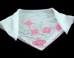 Vintage Madeira Linen Bridal Hankie with Embroidered Flowers