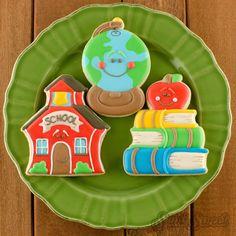 schoolhouse globe book cookies by Semi Sweet Designs Date Cookies, Apple Cookies, Sugar Cookies, Fun Cookies, Cookie Frosting, Royal Icing Cookies, School Decorations, School Themes, Filled Cookies