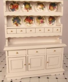 #Miniature White Wood Kitchen Hutch With 8 Dishes $24.99