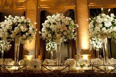 Love all white flowes. Hanging Candles, White Wedding Flowers, Christmas Decorations, Table Decorations, Seasonal Flowers, Wedding Catering, Light Art, Orchids, Wedding Planner