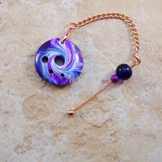 Spinner's DIZ & Threader Set - Purple and Blue Swirl No 3 - Polymer Clay