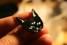 THREE EYED CAT lapel pin by Dripface on Etsy