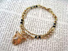 Gold Leopard Head Charm Bracelet by VespertineCosmos £15.50
