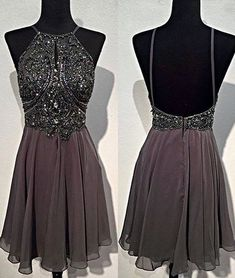 A-line Round Neck Beaded Short Prom Dress, Homecoming Dress