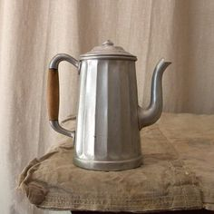 Aluminum coffee pot vintage French country kitchen decor Svpply