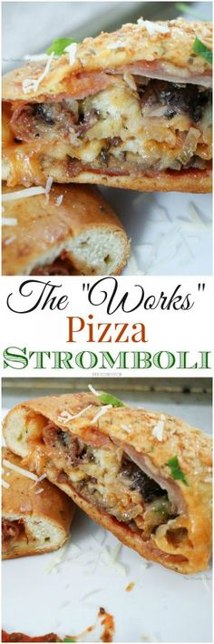 "The Works Pizza Stromboli - The Chunky Chef ""The Works"" Pizza Stromboli - All the flavors of a works pizza, wrapped up in a delicious homemade crust, baked and seasoned to perfection! Pizza Stromboli, Stromboli Recipe, Pizza Pizza, Pizza Dough, Pizza 101, Pizza Recipes, Pork Recipes, Dinner Recipes, Cooking Recipes"
