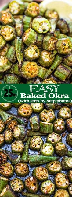 This is a simple flavorful and easy Baked Okra recipe. Seasoned with paprika salt and a pinch of cayenne this okra makes a great snack or side dish. Vegetarian Recipes, Cooking Recipes, Healthy Recipes, Vegetarian Cooking, Italian Cooking, Oven Recipes, Easy Cooking, Cooking Okra, Easy Recipes
