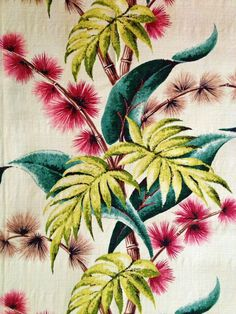 Fab Vintage Barkcloth Fabric with Wild Stylized Flowers and Fantastic Foliage