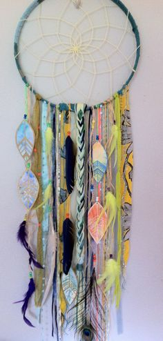 Wild and colorful dreamcatcher by rachael rice http://rachaelrice.com/art/custom-orders