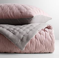 "Reversible Washed Velvet and Satin Full/Queen Quilt (86"" x 86"")in Dusty Rose, $249 at Restoration Hardware Baby and Child."