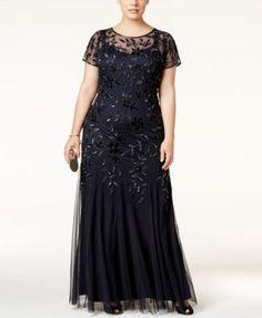 Adrianna Papell Plus Size Floral-Beaded Gown Servietten, Plus Size Kleider,  Abendkleider, 73ed45d82f