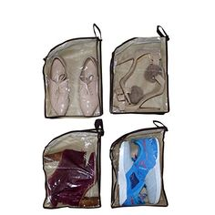 f5ab61a404f Bolsas para zapatos - Pack 4 Belle Vous Bolsas Transparentes de Material No  Tejido e Impermeable
