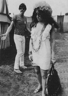 Janis Joplin and John Byrne Cooke photographed at the Newport Folk Festival in Newport, RI on July 28th, 1968.