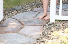 quick set concrete makes a stone look walkway, concrete masonry, landscape, outdoor living, Quick Set Concrete Stone Shaped Walkway