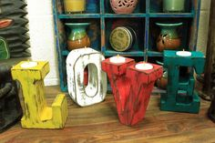 LOVE  Big Wooden Letters  Multicoloured Tealight Candle Holders