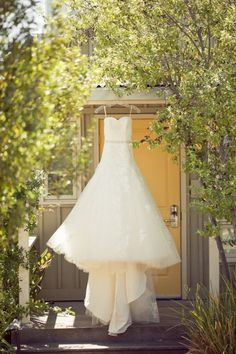 Photo: hanging wedding dress