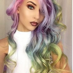Hairspiration. Rainbow dyed curly sexy unique long hair. I love this hairstyle. Color. Colour.