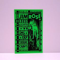 Vintage Jim Rose Circus Sideshow Poster 11/25/97 - Vintage Appearance Tour Poster - 1-sided - 1990s - Cains Ballroom, Tulsa, OK This poster is original and was from our Mohawk Music Record Store in Tulsa, Oklahoma. Measurements: 17 x 11 inches approximately Condition: Excellent Condition on nice heavyweight paper. Mondo Extreme Deluxe -- The New Jim Rose Circus Sideshow  Armenian Rubber Man Bebe The Clown Queen Amazing Mr. Lifto The Enigma Mexican Transvestite Wrestling Womens Sumo Wrestling…