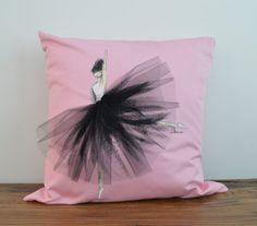 "Ballerina Cushion - Black dress- Hand painted Cushion Cover fits 16""x16"" Insert , Decorative Throw Pillow Cover Cushion Accent Pillow"