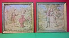 Pair of Vintage French Framed Embroidery / Tapestry Pictures Georgian Style Vintage Wool, Vintage Pink, French Vintage, Ladies Blue Dress, Georgian Era, French Silk, Bed Throws, Needlepoint, Victorian