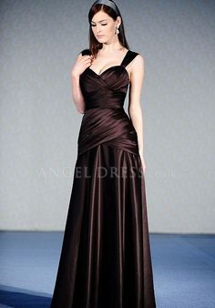 Straps A line Satin Natural Waist With Ruching Floor Length Bridesmaid Dress
